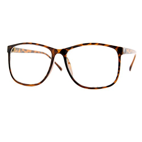 grinderPUNCH Tortoise Large Nerdy Thin Plastic Frame Clear Lens Eye Glasses