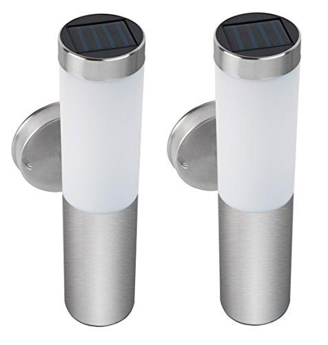 Pack de 2 farolas solares de pared spv lights de acero - Focos solares amazon ...