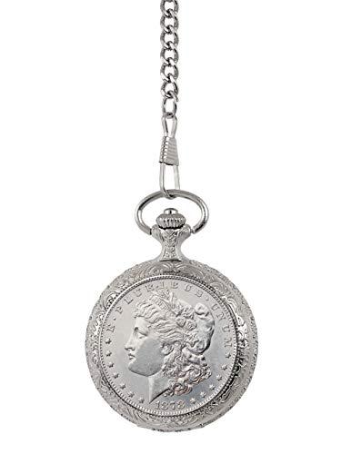 Brilliant Uncirculated 1878 First Year of Issue Morgan Silver Dollar Pocket Watch