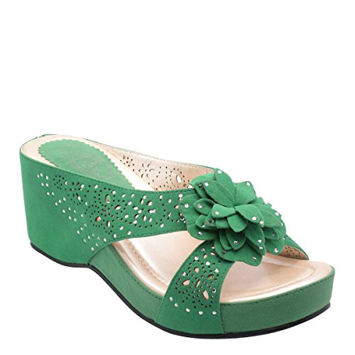 Brand New Ladies Studded Flower Slippers platform shoes DW4170 MINT-GREEN B7AcZem4