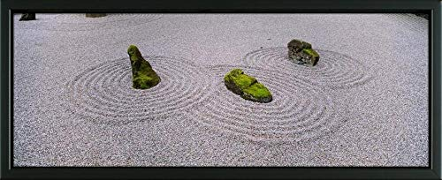 - Easy Art Prints Panoramic Images's 'High Angle View of Moss on Three Stones in a Zen Garden, Washington Park, Portland, Oregon, USA' Premium Framed Canvas Art - 32