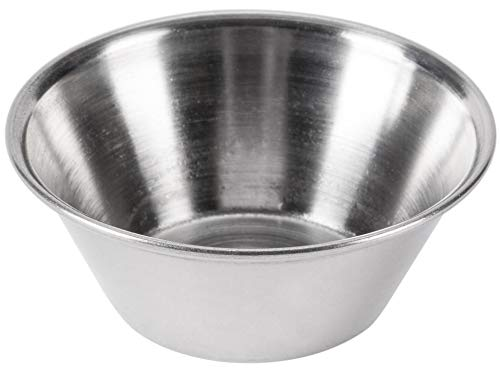 Individual Condiment Sauce Cups and Pan Scraper, Stainless Steel, 1.5 Ounce, 48-Pack