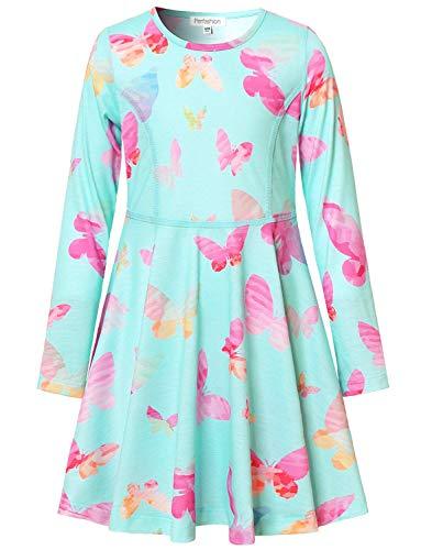 Perfashion Girl's Unicorn Dress Long Sleeve Blue Butterfly Pockets Swing Dresses for -