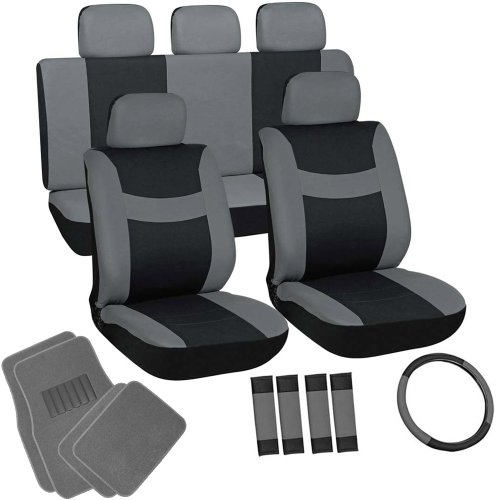 OxGord 21pc Black & Gray Flat Cloth Seat Cover and Carpet Floor Mat Set for the Ford Fiesta Hatchback, Airbag Compatible, Split Bench, Steering Wheel Cover Included