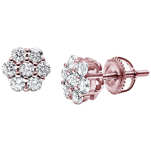 (8mm Cluster Earrings 7-Stone Round Cubic Zirconia 925 Sterling Silver Screwback Flower Stud Earring (Rose Tone))