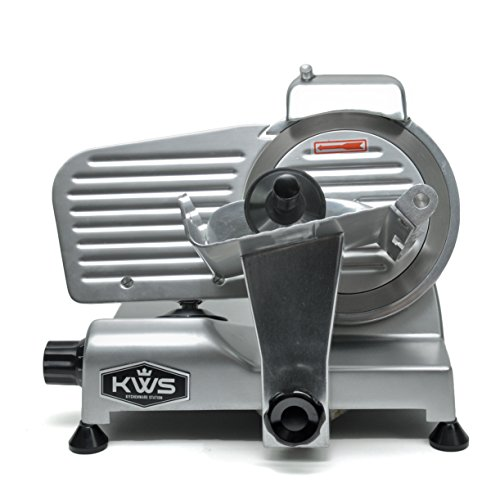 KWS Premium MS-6SS 200w Electric Meat Slicer 6-Inch Stainless Steel Blade, Frozen Meat/Deli Meat/Cheese/Food Slicer Low Noises Commercial and Home Use