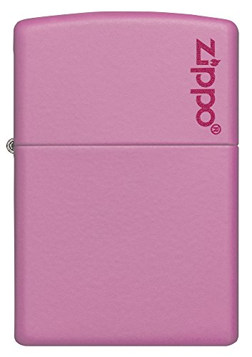 Zippo-Pink-Matte-Logo-Pocket-Lighter