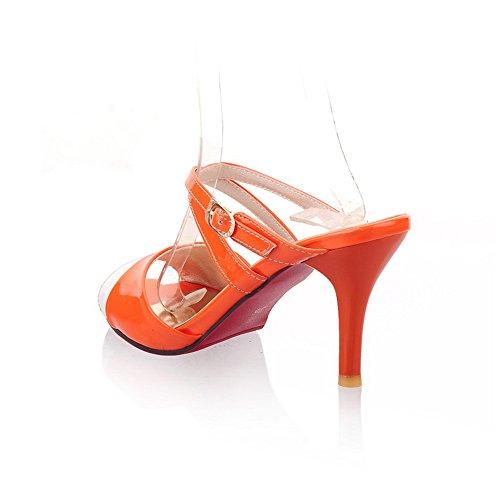 Orange Avec Ouvertes Rouge Assorties Et Stiletto Fond Couleurs Voguezone009 Pu Haut Orteils Peep Femmes Talon Des Pantoufles 6wRqzg5