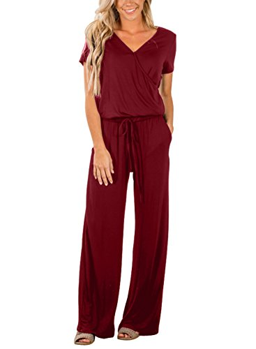 Lovezesent Women Summer Short Sleeve Cotton Wrap Top Loose Jumpers V Neck Casual Pockets Jumpsuit Party Wine Large -