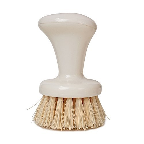 Hulless 3.6 Inch Long Pan Cleaning Brush,Pot Brush,Round head with densely packed,stiff natural plant fibers The bristles(2 per pack)