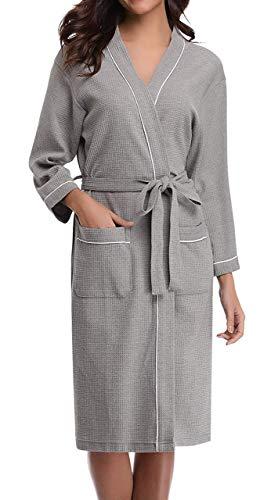 ANCHOVY Women Men Waffle Weave Bathrobe Long Cotton Hotel Kimono Spa Robe P01 (grey, M) ()