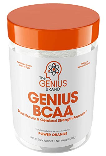 GENIUS BCAA Powder with Focus & Energy - Multiuse Natural Vegan Preworkout BCAAs for Mental Clarity and Faster Muscle Recovery, Orange, 21sv, 9.95 Ounce, Pack of 1 (Protein Powder Without Caffeine)