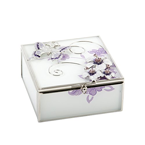 Glass Square Trinket Box Purple Butterfly Flowers and Diamantes
