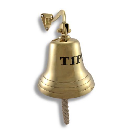 (Solid Brass `Tips` Bell Wall Mounted Bartender`s Bell)