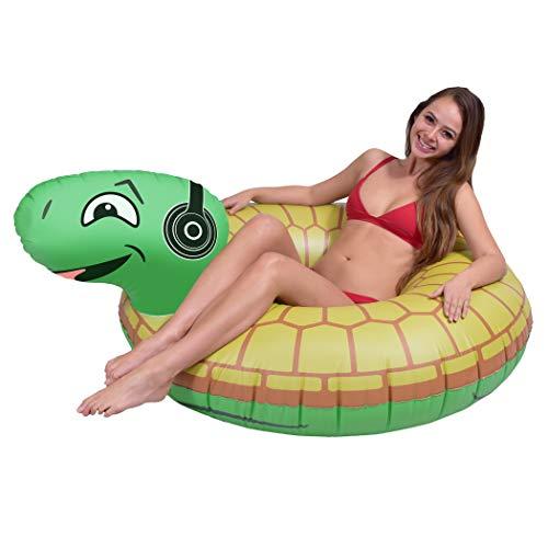 GOFLOATS ROCKIN`거북이 파티 튜브 풍선 뗏목-성인과 어린이를위한 재미있는 수영장 플로트