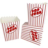 Noe & Malu Movie Theater Popcorn Boxes – Bulk Containers for Party, Carnival, Circus Night - Pop Corn Box with Flat Bottom Open-Top (Pack of 20)