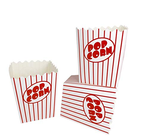 Noe & Malu Movie Theater Popcorn Boxes – Bulk Containers for Party, Carnival, Circus Night - Pop Corn Box with Flat Bottom Open-Top (Pack of 20) -