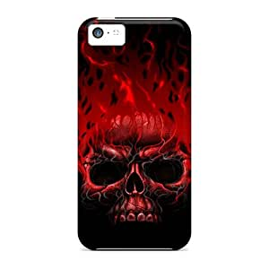 Special Design Back Flame Skull Red Phone Case Cover For Iphone 5c