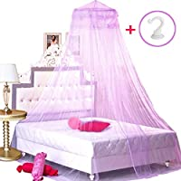 BCBYou Princess Bed Canopy Netting Mosquito Net Round Lace Dome for Twin Full and Queen Size Beds Crib with Jumbo Swag Hook