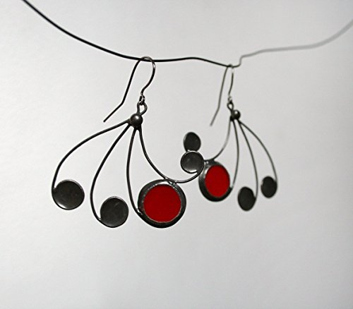 Red fan stained glass earrings by Artkvarta, Unique, Christas gift for her, Jewelry Ideas