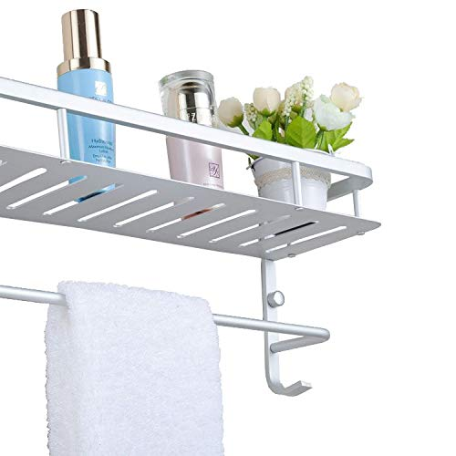 Chrasy Modern Aluminum Double Layer Towel Bar, Wall Mount Bathroom Storage and One Towel Bar, Bathroom Shelves with 2 Hooks, Towel Holders, Bath Towel Rack, Bath/Kitchen Storage Shelf(40cm/15.7in) by Chrasy