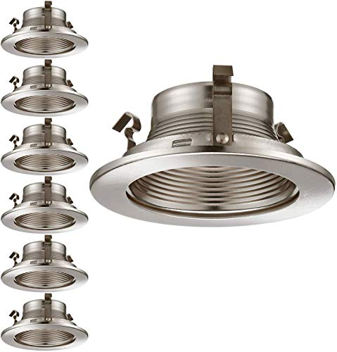 TORCHSTAR 6 Pack 4 Inches Recessed Can Light Trim with Satin Nickel Metal Step Baffle, for 4 inch Recessed Can, Fit Halo/Juno Remodel Recessed Housing, Line Voltage Available
