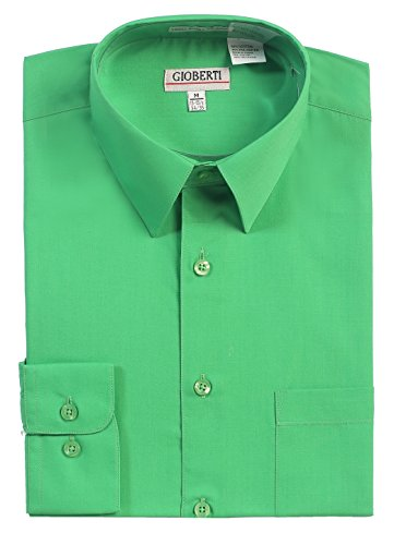 - Gioberti Men's Long Sleeve Solid Dress Shirt, Green, X Large, Sleeve 35-36