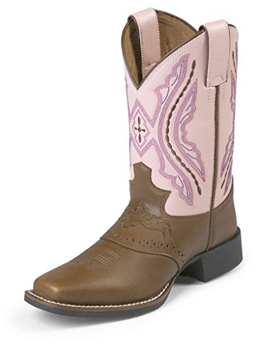 Justin Junior Bay (Justin Junior Bay Westerner Sq Toe Pink Boots 10)
