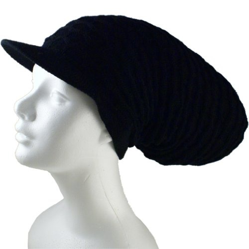 (Shoe String King SSK Rasta Knit Tam Hat Dreadlock Cap (Long Solid Black w/Brim))