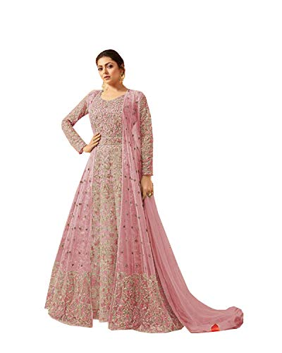 - ziya Readymade Koti weaer Ethnic Indian Pakistani Net Anarkali Salwar Kameez for Women LT 2209 (Light Pink, M-40)