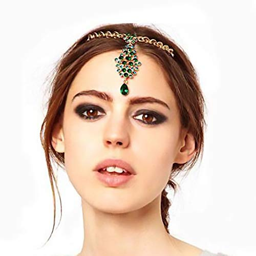Campsis Gold Vintage Head Chain Green Crystals Pendant Headpiece Boho Fashion Indian Chains Hair Jewelry for Women and Girls (Best Perfume For Indian Bride)