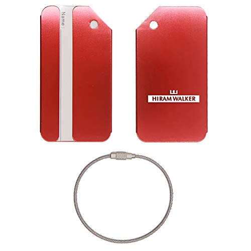 (LOGO HIRAM WALKER SONS STAINLESS STEEL - ENGRAVED LUGGAGE TAG - SET OF 2 (SCARLET RED) - FOR ANY TYPE OF LUGGAGE, SUITCASES, GYM BAGS, BRIEFCASES, GOLF BAGS)