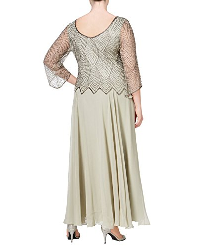 J Kara Plus Size Embellished 3/4 Sleeve A-Line Evening Gown Dress