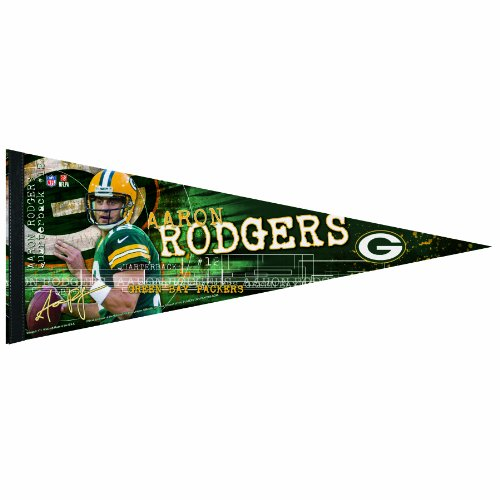 NFL Green Bay Packers Aaron Rodgers 12 by 30-Inch Premium Quality Pennant