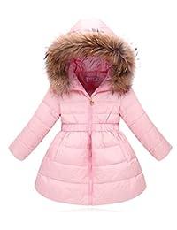 La Vogue Kid Girl's Winter Down Jacket Overcoat with Fur Hood Pink