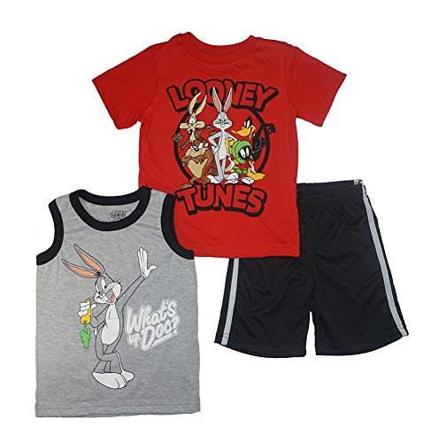 Looney Tunes Little Boys' Three-Piece Short Set (4T, Red)
