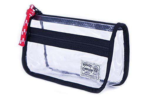- Rough Enough Clear Plastic Cute Pencil Case Pouch Organizer for Teen Boys Girls TSA Approved Travel Makeup Bag for Women Men with Zipper Front Pocket in Japanese Style
