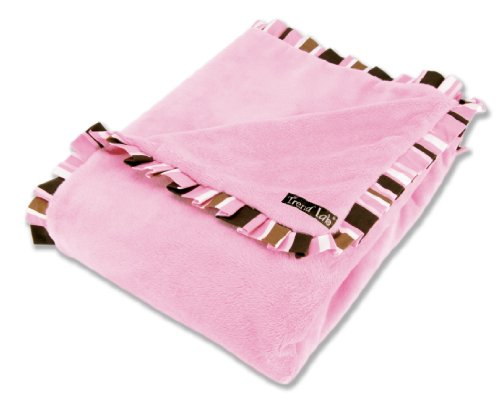 - Trend Lab Receiving Blanket in Pink Velour with Maya Edge Stripe