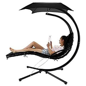Garain Fashion Hanging Chaise Loung Chair Arc Stand Air Porch Swing Hammock Patio Yard Garden(US Stock,Black)