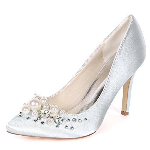 Mariage Femmes De Slip Chaussures Pointu On Perles Talons Bout Silver Moojm Avec 9 Cour Cms 5 Hauts qtEfgtx