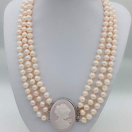 - FidgetKute Pink Freshwater Pearl Potato Statement Necklace Women Cameo Queen Clasp Handmade