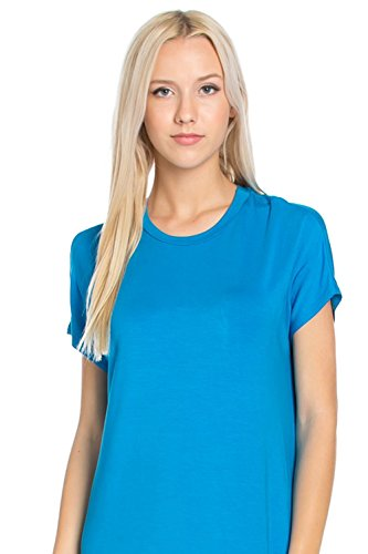 Sleeve Turquoise Midi Azules Swing Women's Dress Short wExTv