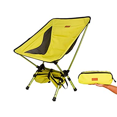 Trekology Compact Portable Camping Chair with Adjustable Height - Ultralight Backpacking Chair in a Bag for Camping, Fishing, Picnic, Patio, Sports, Events (Yellow)