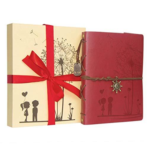 "Scrapbook Album DIY Photo Album Leather Scrapbook Memory Book ""Girl&Boy Dandelion "" Vintage Up Travel Scrapbook Album for Anniversary Wedding Guest book 60 Pages Christmas Gift (Red)"