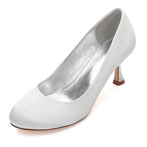 Bombas yc Boda 25 De Zapatos Novia 17061 Peep Las Corte Clips La Mujeres Toe Silver L vBwqxdRv
