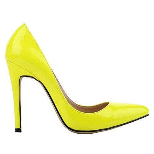 Wotefusi Women's Sexy Candy Stilettos Shoes Proms Pump High Heels Fluorescent Yellow US11