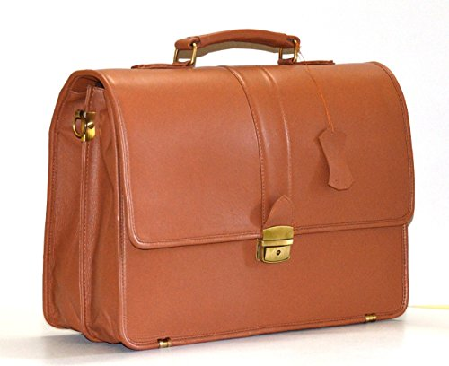 World of Leather Men's Briefcase Messenger Bag Italian Leather Designer Cognac (Light (Cognac Leather Briefcase)