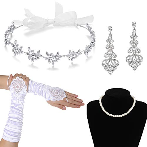 (BABEYOND Wedding Party Accessories Set Wedding Costume for Women Bridal Headband Earrings Necklace Gloves (Silver and White))