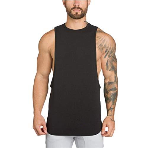YOcheerful Men Vest Sleeveless Tank Top Knit Muscle Shirt Tee Top Gym Sportswear (Black,L)