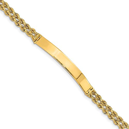 Solid 14k Yellow Gold Two Strand Rope ID Bracelet 8